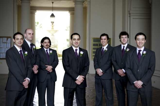 formal wedding portrait of the groom and groomsmen at pasadena city hall